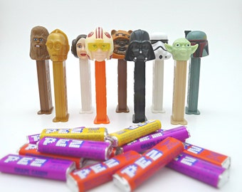 Star Wars PEZ Dispensers - Darth Vader, Boba Fett, Yoda, Chewie, Ewok, C-3PO, Princess Leia, Luke Skywalker, Stormtrooper. Set of 9 w/ Candy