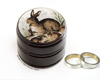 Rabbit with Bunnies Pill Box - Rabbits Non Toxic Vitamin / Pill Box - Woodland Wedding Ring Box
