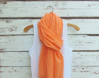 Summer Scarf, Cotton Scarf, Long Scarf, Orange Creamsicle Scarf, Cotton Gauze Scarf with Fringe, Fringed Scarf, Orange Scarf, Gift Idea