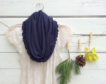 Infinity Scarf, Navy Blue Scarf, Jersey Infinity Scarf, Nautical Scarf, Circle Scarf, Dark Blue Scarf, Summer Scarf, Gift Idea