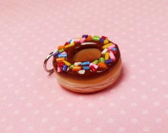Polymer Clay Chocolate Frosted Doughnut With Rainbow Sprinkles Charm, Key Chain, Dust Plug, Pet Collar Charm