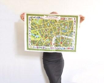 1960 London map tea towel . British roads kitchen decor . very UK .sale
