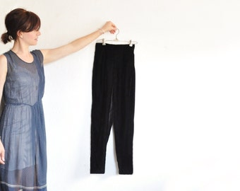 high waist black velvet pants . plush straight leg trousers .extra small.xs .sale s a l e