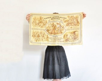 Early Australian Miners linen tea towel . large rough burlap decor .sale s a l e