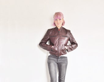 burgundy leather moto jacket . shiny oxblood red cafe racer .extra small.small