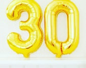 GOLD Number 30 Balloon, 30th Birthday Photo Prop, Number Balloons, 30th Bday, Happy 30th, 30 Balloon, 30th Celebration, Gold 30, 30 Years