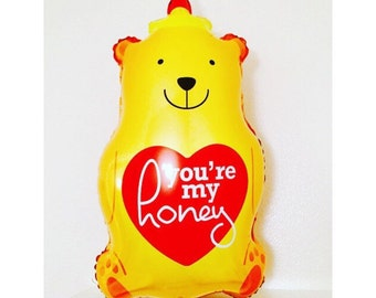 Honey Bear Balloon, You're my Honey, Honey Bear, Honey shaped Bear, Teddy Bear Balloons, Honey Bear Theme, Honey Gifts, Honey Balloons,Honey