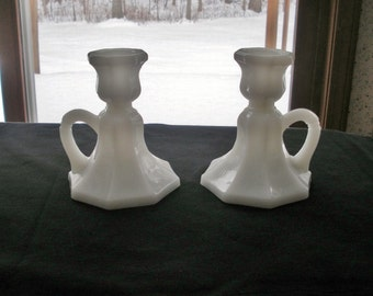 Vintage Pair Milk Glass Candle Holders with Handles