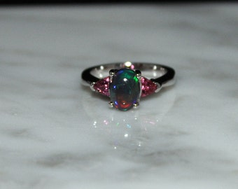 Black Opal Engagement Ring, Rose Pink Tourmaline Ring, Multi-stone Ring/Appraisal Included