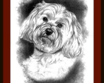 Dog Sketch Pet Portrait 5x7 Pet Drawing Gift Idea