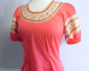 Vintage 50s Style Squaw Top - 1950s Coral Western Blouse with Ric Rac Dead Stock sm