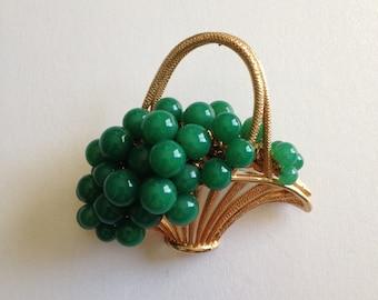 Basket of Jade Green Grapes Brooch