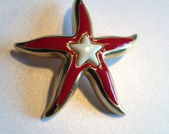 Starfish Brooch Red White Enamel Sea Star