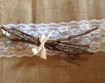 Rustic Twig Bundles Country Farmhouse Table Setting Wedding Centerpiece