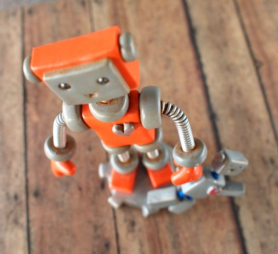 Robot Sculpture Orange Olie Rustic Bot with Robot Doll HAPPY VERSION - Clay, Wire, Paint