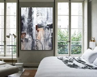 Original Art Large Painting Modern Art Gray Black and White Painting Abstract Oil Acrylic Painting Urban Loft Contemporary Art Ready To Hang