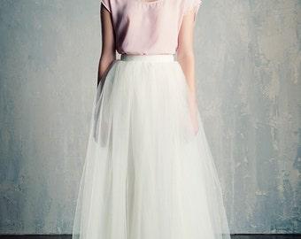Ivory Tulle Wedding Skirt Maxi/Floor Length  A Line Modern Bride