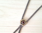 SUPER SALE...Stunning Designer 14k Gold Garnet and Sterling Silver 925 Tassel Necklace. Perfect Jewelry Gift. Gift for her. ETSY Gift