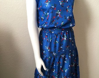 Vintage Women's 70's Dress, Polyester, Blue, Ruffle, Split Sleeve (L/X)