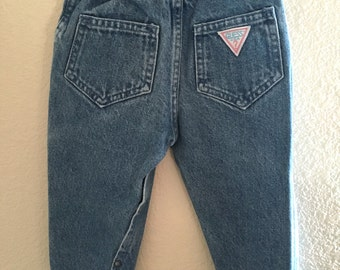 Vintage Baby Girl's 80's GUESS Jeans, Snap Leg, Denim (Size: 12 mos.)