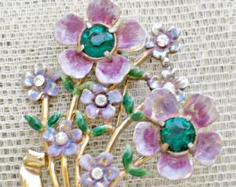 Coro Brooch Signed Vintage Flower Jewelry Rhinestones Enamel