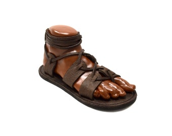 Men's Gladiator Sandals / Chocolate Brown Handmade Sandal Greek Roman Medieval Viking Renaissance Flat Leather Lace Up Shoes
