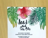 Printable Wedding Invitation - Tropical Leaves Wedding Invitation (1 Piece)