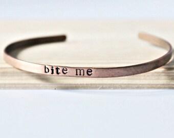 Bite Me, adjustable bracelet, gag gift, womens bracelet, funny jewelry, copper bracelet, halloween bracelet, vampire jewelry, snark, grumpy