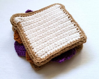 Peanut Butter and Jelly Sandwich Play Food Pretend Kitchen Crochet Sandwich Play Set for Kids Pretend Lunchbox Play Food Gift for Kids