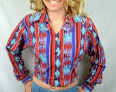 Vintage 80s Rad Cropped Western Rodeo Womens Rainbow Open Back Button Up Top