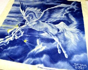 Vintage Unicorn Pegasus Tapestry Wall Hanging - #B28