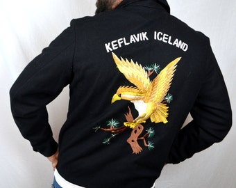 RARE Vintage Embroidered Souvenir Keflavik Iceland Navy Naval Air Station Wool Jacket Coat