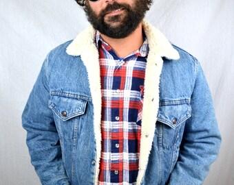 Vintage Levis Denim Winter Jacket - Furry Shearling Lining - Size 40 R