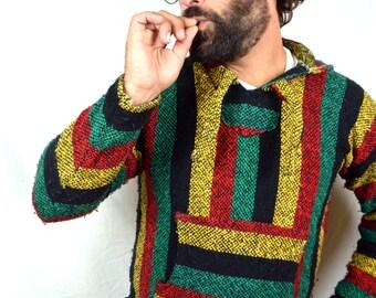Vintage 1980s Striped Rasta Pullover Baja Drug Rug Hoodie