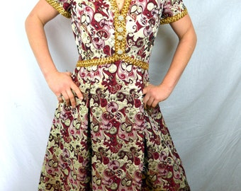 Vintage 1960s Rhinestone Button Metallic Brocade Plus Size Formal Dress - Harmay