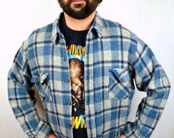 Vintage Woolrich Wool Plaid Button Up Shirt - XL