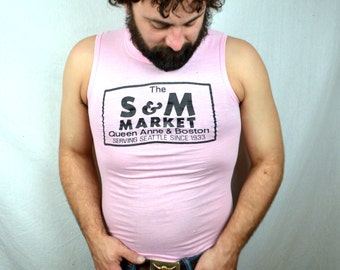 Vintage 80s S & M Market - Seattle - Pink Muscle Tee Tshirt