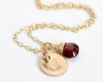 Personalized Birthstone Necklace / January Birthstone Necklace / Birthstone Initial Necklace / Garnet Gold Initial Charm