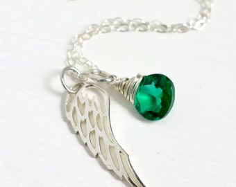 Sterling Silver Angel Wing Necklace with May Birthstone / Miscarriage Jewelry / Pregnancy Loss Necklace / Baby Loss Sympathy Gift