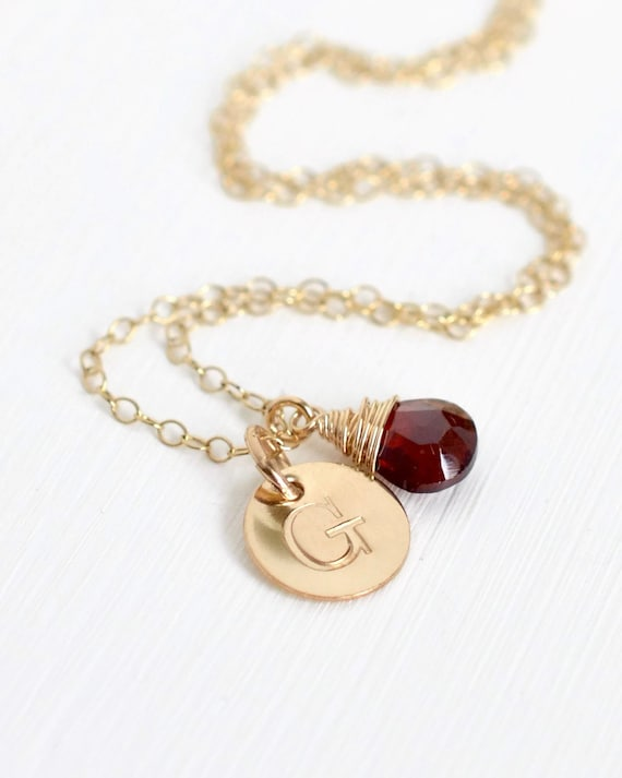 Personalized Birthstone Necklace / January Birthstone Necklace