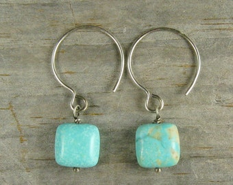 Turquoise Earrings - Stunning Blue Green Natural Stone - Oxidized Silver Earrings - Par it Down Turquoise Handcrafted Drops