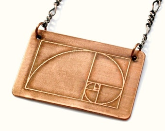 Fibonacci Spiral Etched Copper Necklace with Antiqued Copper Chain, 20 gauge copper, handcrafted, Golden Ratio