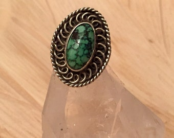 Vintage - Turquoise / Sterling Silver Ring / Size 5.5