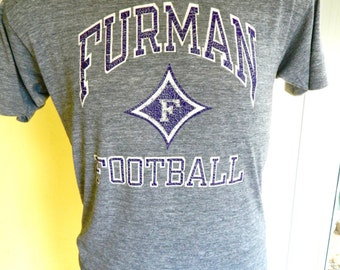 Furman Football 1980s soft rayon blend vintage tee shirt size large