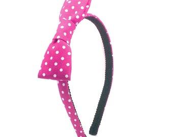 Magenta Polka Dot Bow Headband - Little Girl Headband, Toddler Headband, Big Girl Headband, Adult Headband - Hot Pink Hard headband with Bow