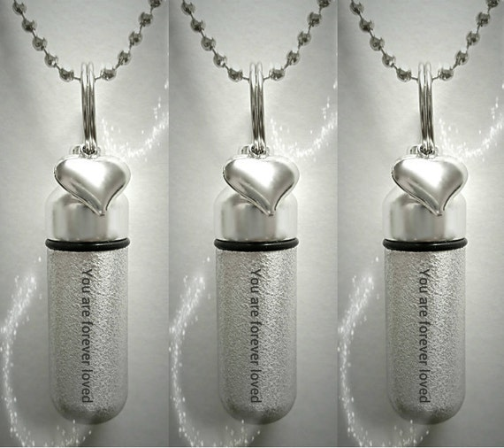"""Set of 3 ENGRAVED Brushed Silver CREMATION URN Necklaces """"You are forever loved""""  with Heart Charm - Includes Velvet Pouches & Fill-Kit"""