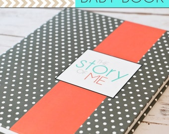 SALE // Baby Book/Baby Journal/Gender Neutral - Grey Polka Dot with Coral Stripe Cover,Perfect Bound (Pregnancy - 5 Years)