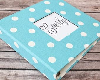Baby Book, Baby Gift, Baby Album, Baby Memory Book, Baby Keepsake, Modern Baby Book, Coastal Blue Polka Dot