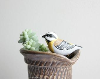 Mini Western Spindalis Figurine - miniature birds, garden decoration, terrarium clay bird figurine, indoor garden art, bird lover gift