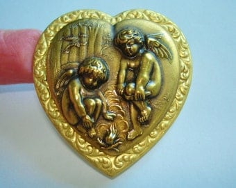 Angel Children Camping Gold Tones Brooch